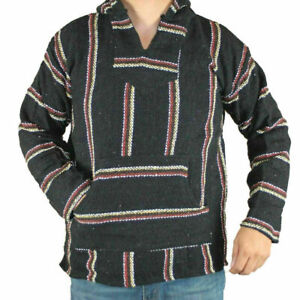 Hoodie Hippie Surfer Mexican Poncho Sweater Assorted Colors Unisex Kids 10-12 Yr