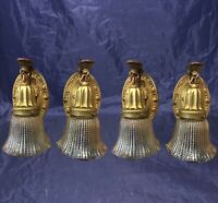 Wired Set Four 4 Antique Early Raw Brass Patina Wall Sconces Fixtures Lights 47C