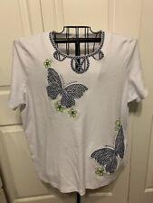 Women's Clothing Alfred Dunner White Butterflies Flowers Blouse Shirt Top Sz 3X