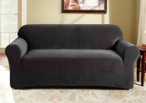 Sure Fit Sofa Slipcover Stretch Corduroy Pearson BLACK Box Seat Cushion