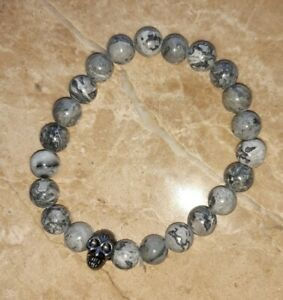 "1x Agate & Pewter Skull Bead Bracelet 8mm bead 7.25"" - 7.5"" Long #8 organza bag"
