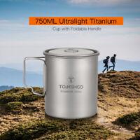 TOMSHOO 750ml Ultralight Portable Titanium Camping Cup Mug with Handles New Q0G1