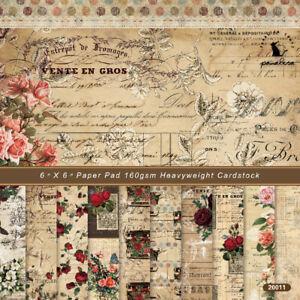 12x Vintage Floral Paper Pad Scrapbooking Album Card Cardstock Journal Decor DIY