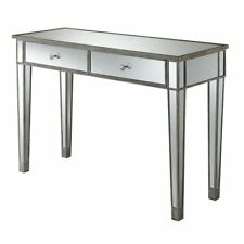 Convenience Concepts Gold Coast Mirrored Desk Vanity In Weathered White And M