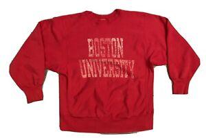 Boston University Vintage Champion Reverse Weave Sweatshirt Large Red Distressed