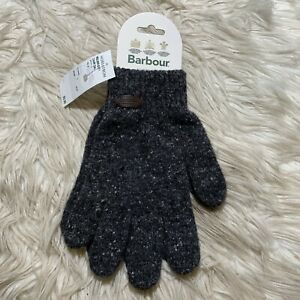 Barbour Donegal Knit 100% Wool Gloves Gray Speckled Small Unisex NWT England