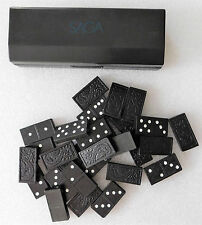 Domino game black tiles traditional double-6 dominoes set Saga advertising box