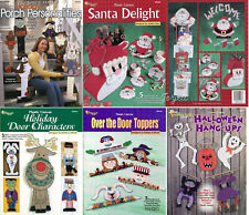 Lot of Plastic Canvas Pattern Books ~ 25+ Holiday Porch Door Decor Projects NEW