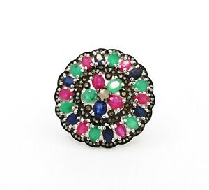 AAA+ Ruby,Emerald,Blue Sapphire And Diamond 925 Solid Sterling Silver Ring Sz 7