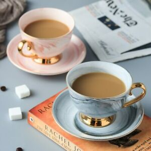 230ml Ceramic Tea Water Cup Porcelain Marble Coffee Cup Saucer Set Handpainted