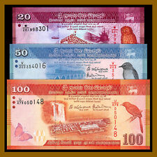 Sri Lanka 20 50 100 Rupees (3 Pcs Set), 2015-2016 P-123-125 Birs Butterfly Unc