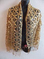 Shawl Wrap Metallic Gold Sequins Floral Cut Out Fringe Unique Long Wide NWT D67