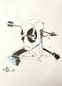 Fan art,original drawing color pencils,Marvel,superhero,Deadpool,comics
