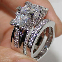 3.00ct Princess & Round Diamond Engagement Wedding Ring Set 10k Real White Gold