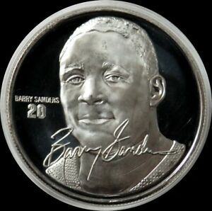 BARRY SANDERS NFL 1 oz SILVER PROOF DETROIT LIONS SPORTS ROUND IN CAPSULE