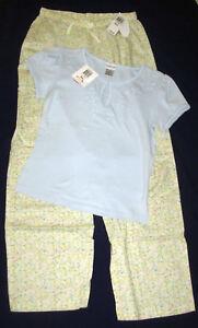 sz S womens cotton Sleep Shirt PJ Pants Alfani / Charter Club pastel floral blue