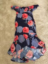 Dress Size 14 Floral Red Grey Midi Brand New Off Shoulder