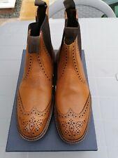 LOAKE 1880 KESWICK TAN BROGUE CHELSEA BOOTS. .SIZE 8. MADE IN ENGLAND