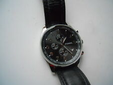 Fossil chronograph mens Black leather band.quartz,Analog & battery watch.FS-4310