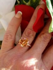 6ctw Round Golden Morganite/Beryl Solitaire Ring, 18KRG/925, Size 6