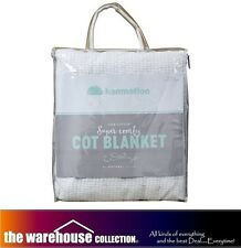KOMMOTION WHITE 100%25 COTTON COT BABY CRIB BLANKET CELLULAR PEBBLE WEAVE 114X152