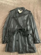 MENS BURBERRY LEATHER TRENCH JACKET COAT IT 52 SIZE XL BLACK