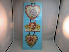Victorian hanging ribbon 3pc embossed Valentine's Day Card