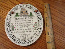 1993 House Rules Wall Plaque by Spooner Creek Designs, Spooner Wisconsin Ceramic