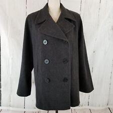 J. Percy Women's Jacket Sz 8 Gray Double Breasted Long Sleeve Wool Lined Coat