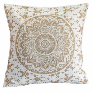 Indian Gold Mandala Pillow Case Cover Bohemian Tapestry Sofa Cushion Cover 16""
