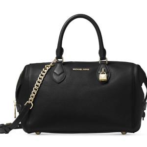 NWT MICHAEL Kors GRAYSON LARGE SATCHEL BLACK Leather Gold Hardware BAG ~MSRP$348