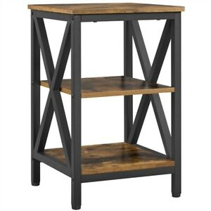 3 Tier Rustic End Table, Nightstand Tall Slim Side Couch Table for Bedroom