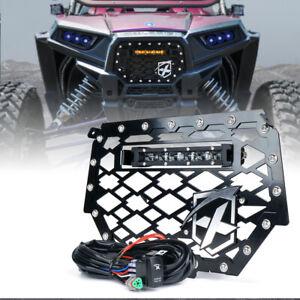 "Black Steel Mesh Grille w/ 8"" LED Light Bar for 14-18 Polaris RZR 900 S 1000 XP"