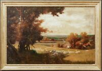 Large 19th Century The Golden Valley Herefordshire Sheep Landscape Alfred EAST