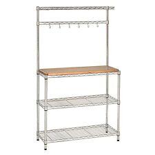 Steel Frame Kitchen Baker'S Rack Work Station Table Bench Wire Storage Shelving
