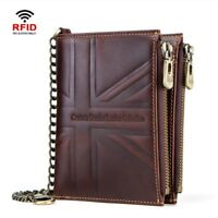 RFID Crazy Horse Genuine Leather Hi-Q Mens Chain Wallet Short Card Union Flag