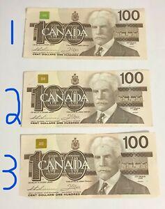 1988 100$ 100 Dollars Dollar Bills One Hundred bill Ottawa Bank of Canada