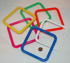 """6 HARD PLASTIC SQUARE RINGS 5"""" BIRD TOY PARTS CRAFTS ASSORTED COLORS"""