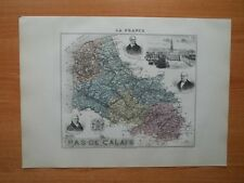 Carte ancienne de 1891 Département du Pas de Calais