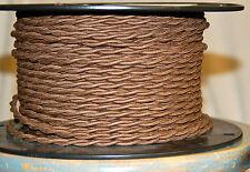 Braune Verdreht Baumwolle Bedeckt Draht Vintage Stil Tuch Lampe Kordel Antik Fan