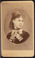 CDV Photo Young Woman Curls Ringlets Striped Scarf Richardson Ashland Mass