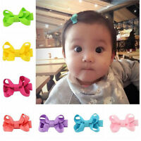 10Pcs Baby Girl Kids Hair Bow Clips Headwear Grosgrain Ribbon Bowknot Barrettes