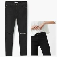Ladies Mango Noa RIPPED Skinny High Waist Jeans Black Sizes 6 - 14
