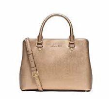 New Michael Kors Savannah Saffiano Leather Medium Satchel Pale Gold tote handbag