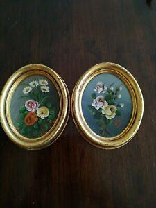 Set Of 2 Vintage Miniature Oval Oil Paintings Roses , signed,Gilt Framed