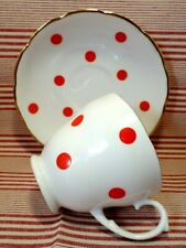 More details for vintage polka dot china 1950's cup & saucer retro staffordshire red