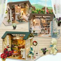 3D Wooden DIY Miniature House Furniture LED House Puzzle Decorate Creative Gifts
