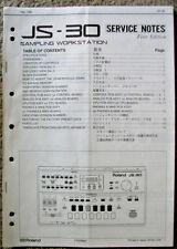 Roland JS-30 Digital Sampler Original Service Manual, Schematics Parts List Book
