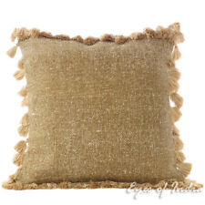 "16"" Brown Cotton Decorative Pillow Tassels Cushion Cover Dhurrie Sofa Couch Thro"