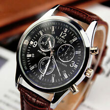Fashion Men's Date Leather Stainless Military Sport Quartz Wrist Watch Black
